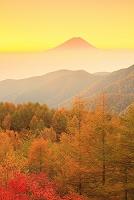 山梨県 丸山林道 夜明けの富士山と紅葉の山並み