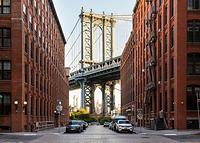 ニューヨーク ブルックリンよりマンハッタン橋とエンパイアステ...