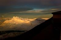 山梨県 影富士と夕焼け雲