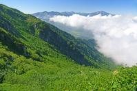 富山県 大日岳から薬師岳(右)