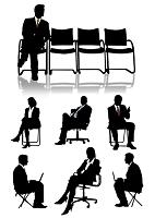 椅子に座るビジネスマン・ビジネスウーマン(シルエット)