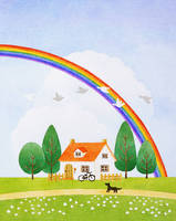 イラスト 虹と家