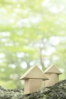 朝霧の森に置かれた積み木の家