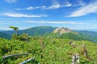 長野県 西穂山稜から焼岳(手前)と乗鞍岳(奥)