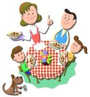 食事をする4人家族と犬