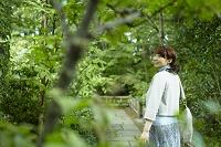 緑の木々を眺める日本人女性