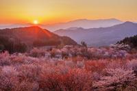 福島県 桜峠より飯豊連峰と夕日