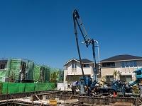 生コンの打設 住宅建設
