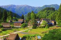 富山県 朝日に染まる五箇山相倉合掌造り集落と人形山