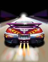 火を噴いて走るスポーツカー