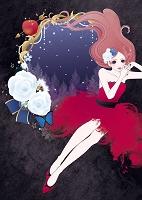 白い薔薇と赤いドレスの女性