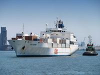 ベルギー 果物を輸入する貨物船