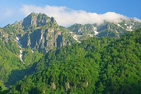 岐阜県 朝の錫杖岳