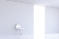 白い部屋に置かれた白い椅子 CG