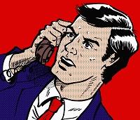 イラスト 電話をする怒れるビジネスマン