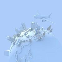 地球儀とビルと飛行機
