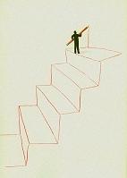 イラスト 階段を描く男性