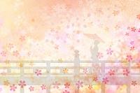 桜と和服女性