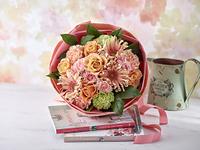 花束 ピンク オレンジ バラ ガーベラ