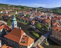 チェコ チェスキー・クルムロフ クルムロフ城から望む旧市街