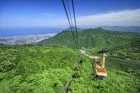 大分県 鶴見岳からの別府湾と街並み