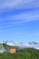 長野県 北アルプス爺ヶ岳中腹から見る立山三山と青空