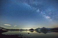 福島県 桧原湖より天の川と磐梯山