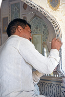 インド アンベール城 修復作業