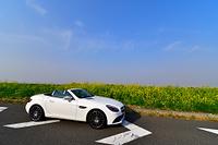 菜の花と青空と白い雲にスポーツカー
