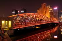 上海 外白渡橋とブロードウェイマンションの夜景