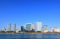 東京港と汐留のビル群