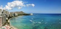 アメリカ合衆国 ハワイ 海岸のホテルとダイヤモンドヘッド