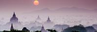 ミャンマー 朝日とバガン遺跡