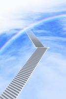 青空に階段と虹 CG