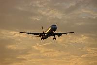 着陸するエアバスA320旅客機 夕景