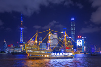 中国 上海 陸家嘴高層ビル群夜景