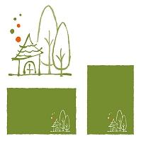 樹木と小さな家