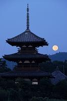 奈良県 法起寺に沈む満月