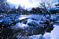 石川県 兼六園 雪景色の霞ヶ池と徽軫灯籠と唐崎松の雪吊り