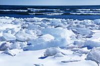 荒波と流れ着いた氷群(豊頃町)
