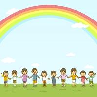 虹と子ども達