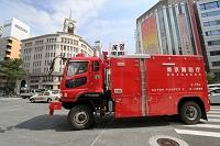 銀座の防災訓練・東京消防庁のホース延長車
