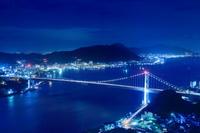山口県 火の山公園から関門海峡の夜景