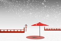 赤い和傘と複数の雪の結晶