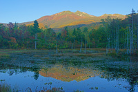 長野県 早朝のどじょう池と乗鞍岳