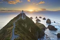 ニュージーランド ナゲット・ポイントと灯台 明け方