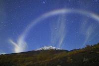静岡県 須走口五合目 深夜の富士山とナイトレインボー架かる星空