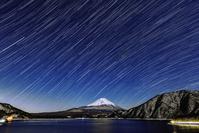 山梨県 富士山と天の川と本栖湖