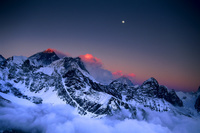 Moon over Everest, Lhotse and Makalu at sunset from Gokyo Ri...