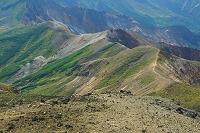 北海道 山頂より十勝岳の山陵